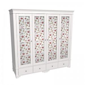 """Шкаф для одежды четырёхдверный со стеклом """"Бейли"""""""